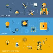picture of electricity pylon  - Electricity flat banners set with electrician circuit generation elements isolated vector illustration - JPG