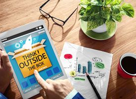 picture of thinking outside box  - Think Outside The Box Idea Innovation Man Concept - JPG