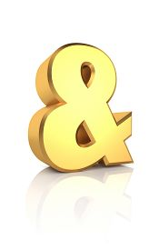 picture of ampersand  - Golden ampersand symbol isolated on white background - JPG