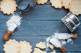 image of shortbread  - Background of baking gluten free shortbread cookies with utensils and ingredients - JPG