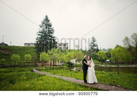 Wedding Couple Near Trail