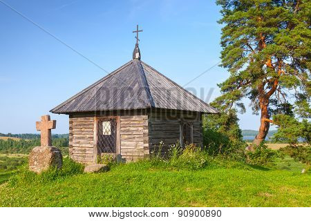 Ancient Small Wooden Orthodox Chapel