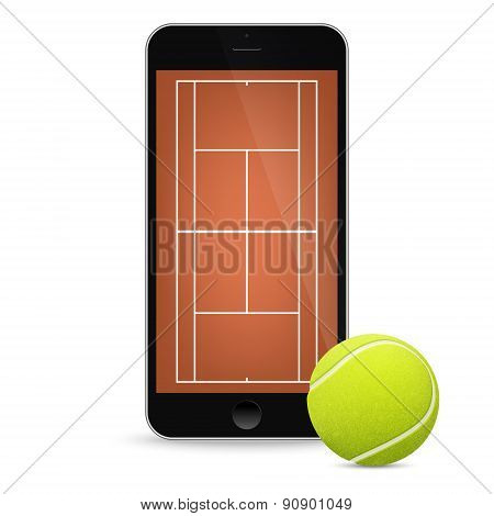 Black smartphone with tennis ball and field on the screen.