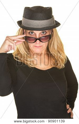 Lady Looking Over Sunglasses