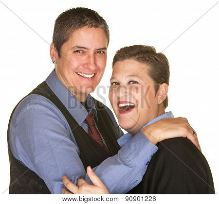 Joking Woman With Butch Partner