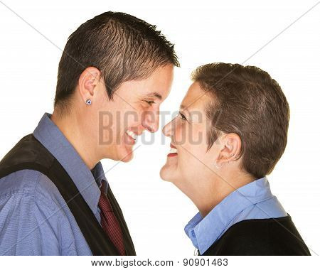Laughing Couple Facing Each Other