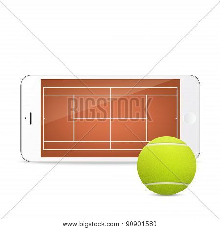 White vector smartphone with tennis ball and field on the screen.