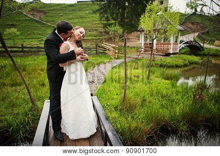 Wedding Couple At The Small Bridge