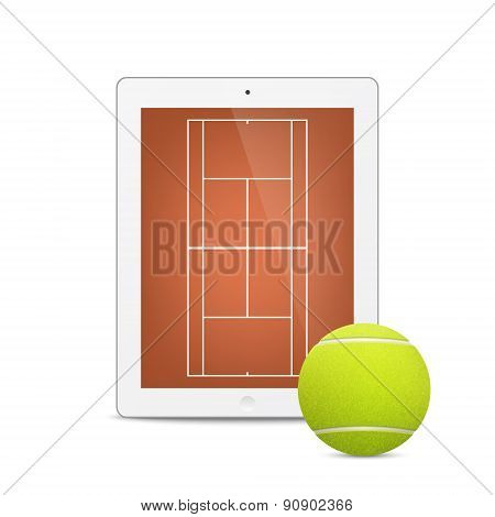 White vector tablet with tennis ball and field on the screen.