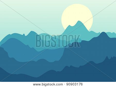 Vector Beautiful Landscape, Blue Mountains And Sunrise. Nature Background Template With Place For Te