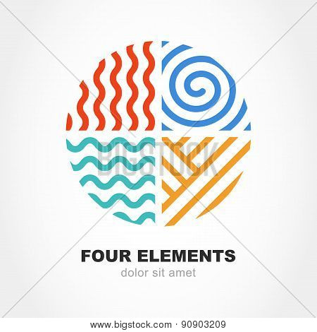 Four Elements Simple Line Symbol In Circle Shape. Vector Logo Design Template. Abstract Concept For