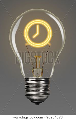 bulb with glowing clock sign inside of it, creativity concept