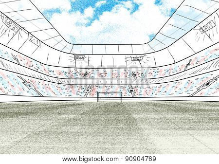 sketch of soccer or football stadium background