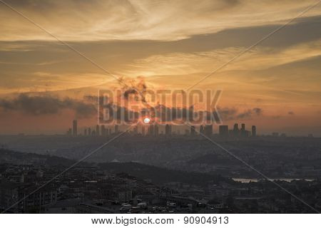 View of Istanbul during sunset with Skyscrapers and over populated urban architecture