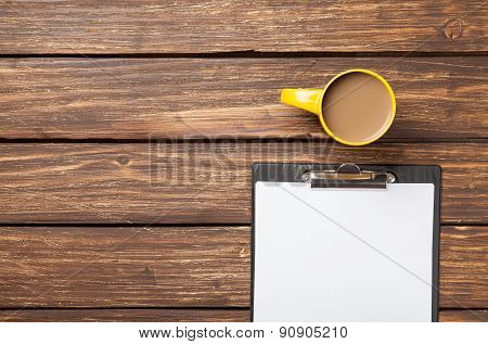 Cup Of Coffee Latte And Business Tablet