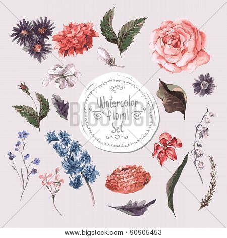 Set of Watercolor Floral Design Elements. Roses, Hyacinths and Wildflowers