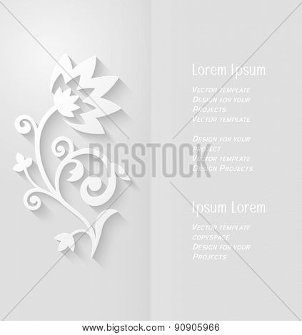 Brochure design with copyspace and abstract paper flower with soft shadow