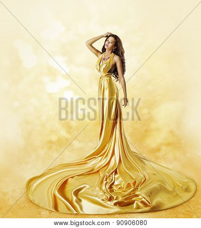 Fashion Model Yellow Dress, Woman Posing Twisted Beauty Gown
