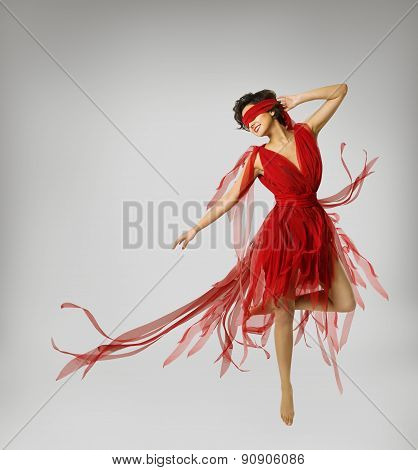 Woman Artist Dancing In Red Dress, Girl With Band On Eyes, Model With Ribbon Bandage