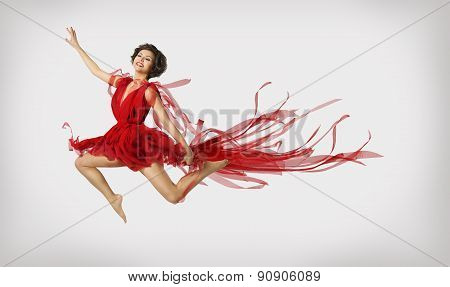 Woman Running In Jump, Girl Performer Leap Dancing In Red Dress
