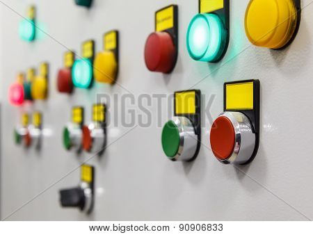 electrical panel with multi-colored indicators