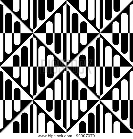 Seamless Vertical Stripe and Rhombus Pattern. Vector Black and White Background