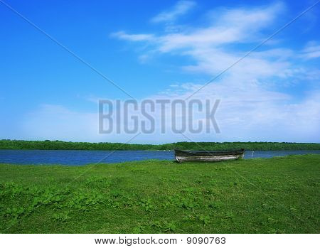 Lonely Boat On Land