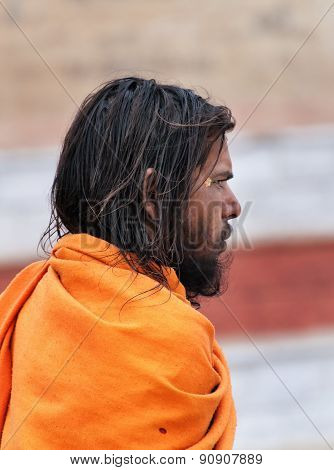 Indian Young Sadhu On The Street In Varanasi
