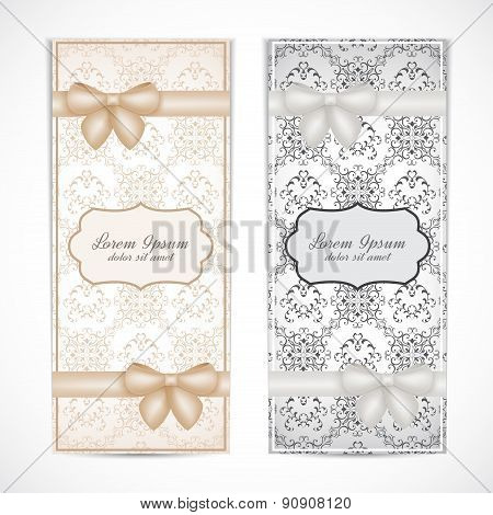 Two weddings invitation card in the vintage style for greeting cards, labels, invitations, posters,