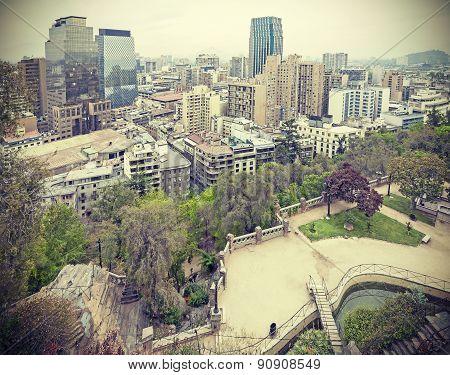 Retro Toned Photo Of Santiago De Chile Downtown.