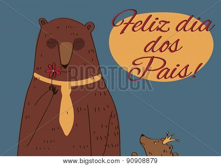 Daddy Bear Happy Father's Day Portuguese