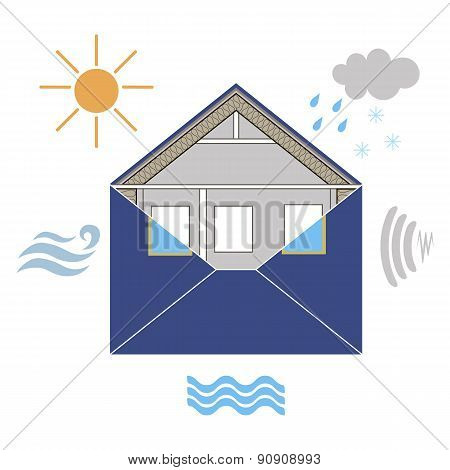 House Building Envelope Energy Efficiency symbolic figurative image, with wind, rain, sun,