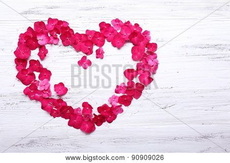Petals of pink hydrangea in shape of heart on wooden background