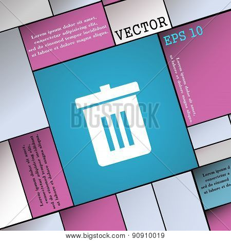 Recycle Bin, Reuse Or Reduce  Icon Sign. Modern Flat Style For Your Design. Vector