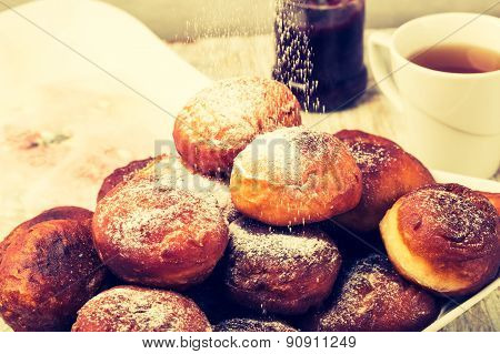 Vintage Photo Of Falling Powder Sugar On Donuts