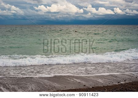 Waterscape at autumnal season on a Black Sea