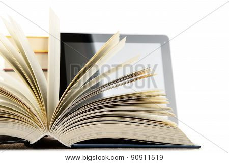 Composition With Books And Tablet Computer Isolated On White