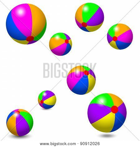 Eight Colorful Beach Balls