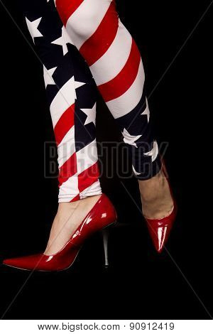 Womens Legs Wearing Flag Leggings And Red High Heels