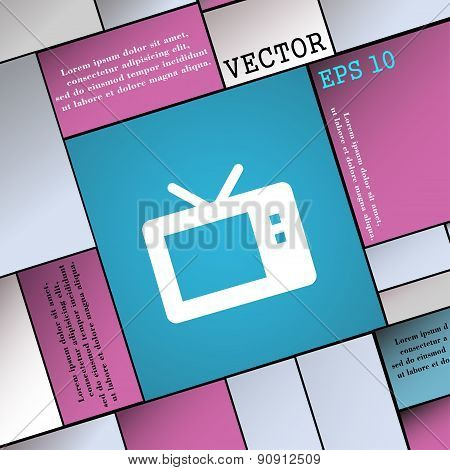 Retro Tv Mode  Icon Sign. Modern Flat Style For Your Design. Vector