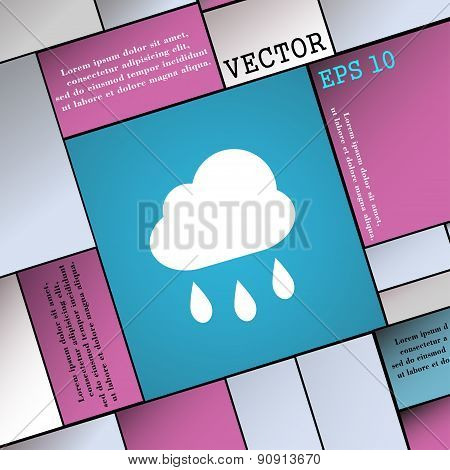 Weather Rain  Icon Sign. Modern Flat Style For Your Design. Vector
