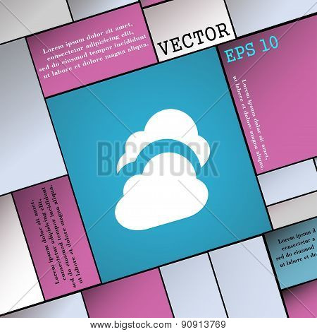 Cloud  Icon Sign. Modern Flat Style For Your Design. Vector