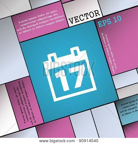 Calendar, Date Or Event Reminder  Icon Sign. Modern Flat Style For Your Design. Vector