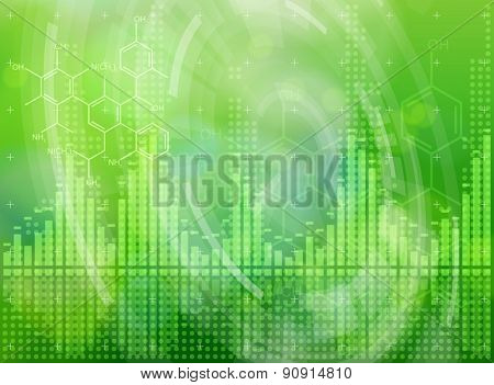 Ecology technology concept - chemical formulas, digital wave, radial HUD elements & green bokeh abstract light background