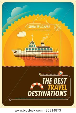 Travel poster with cruise ship. Vector illustration.