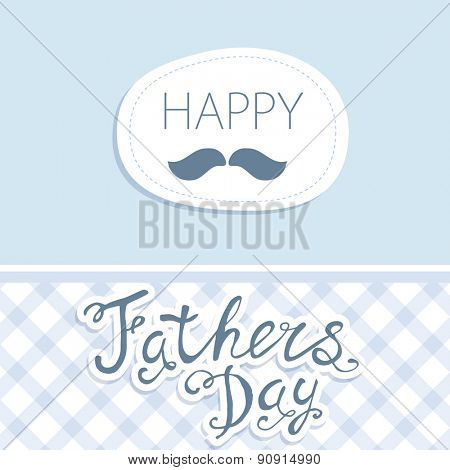 Happy Father's Day. Vector card with text on squares pattern