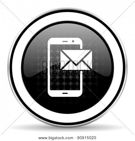 mail icon, black chrome button, post sign