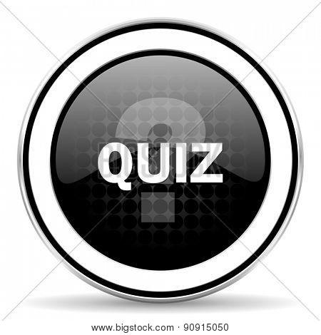quiz icon, black chrome button