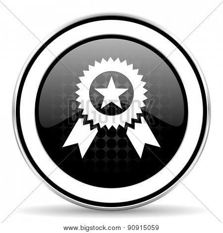 award icon, black chrome button, prize sign