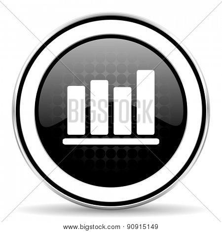 bar chart icon, black chrome button